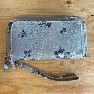 Nicole Miller Gray Floral Wristlet Wallet